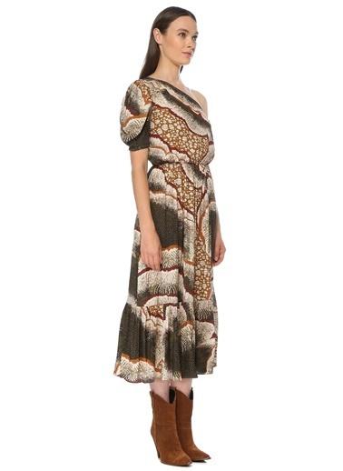 NetWork NetWork 1075422 Tek Kollu Uzun renkli Desenli Uzun Kadın Elbise Bej